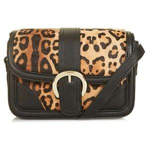 Topshop faux calf hair leopard print crossbody bag
